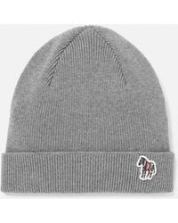 Paul Smith Grey 'zebra' Logo Ribbed Lambswool Beanie Hat