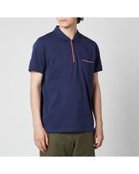 Tommy Hilfiger Tipped Zip Slim Fit Polo Shirt - Blue