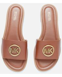 MICHAEL Michael Kors Brynn Leather Slide Sandals - Brown