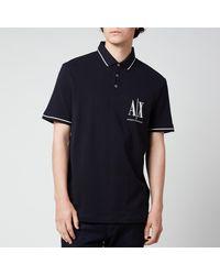 Armani Exchange Ax Logo Polo Shirt - Blue