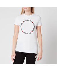 Love Moschino Round Logo T-shirt - White