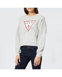 Guess Icon Fleece Sweatshirt - Gray