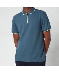 Ted Baker Sello Zip Neck Textured Polo Shirt - Blue