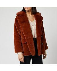 Free People Solid Kate Faux Fur Coat - Brown