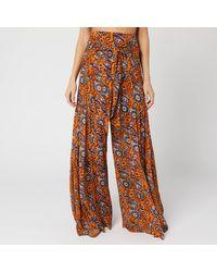 Free People Aloha Printed Wide Leg Pant Orange