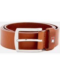 Tommy Hilfiger Textured Leather Belt Tan Brown