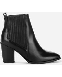 Clarks West Lo Leather Heeled Ankle Boots - Black