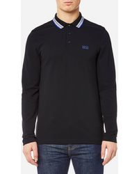 BOSS Green - Plisy Long Sleeve Polo Shirt - Lyst