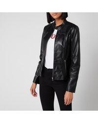 HUGO Lilova Leather Jacket - Black