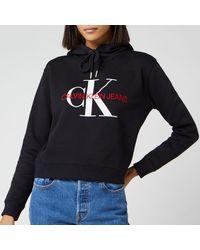 Calvin Klein Monogram Boxy Hoodie - Black