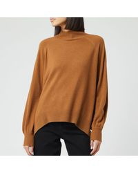 Whistles Funnel Neck Cashmere Knitted Sweater - Brown
