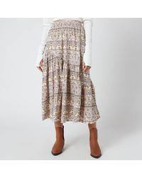 Free People All About The Tiers Print Skirt - Natural