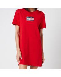 Tommy Hilfiger Tommy Logo T-shirt Dress - Red