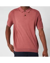 Ted Baker Bump Knitted Polo Shirt - Pink