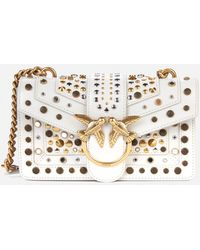Pinko Love Mini Icon New Studs Bag - White