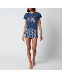 Calvin Klein Logo Short Sleeve Pajama Set - Blue
