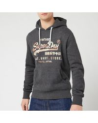 Superdry Vintage Label Sweat Shirt Store Infill Hoody - Grey
