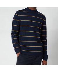 Ted Baker Nocal Contrast Stripe Mockneck Sweatshirt - Blue