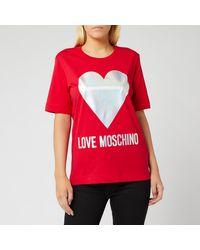 Love Moschino Heart Logo Print T-shirt - Red