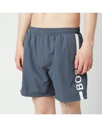 BOSS by HUGO BOSS Boss Swimwear Dolphin Recycled Fabric Logo Print Swimshorts - Grey