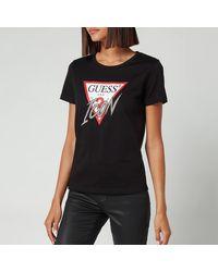 Guess Short Sleeve Crewneck Icon T-shirt - Black