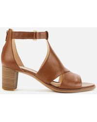 Clarks Kaylin 60 Glad Leather Sandals In Tan Wide Fit Size 8 - Brown