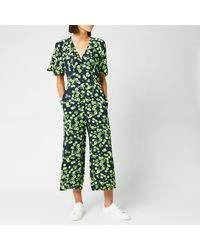 Whistles Digital Daisy Print Button Jumpsuit - Green