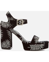 84d2bbd078 Sol Sana - Cathy Palm Embroidered Platform Heeled Sandals - Lyst