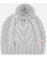 Ted Baker - Quirsa Cable Knit Pom Hat - Lyst d78ab9ab6fce