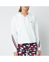 Tommy Sport Relaxed Double Pique Hoodie - White