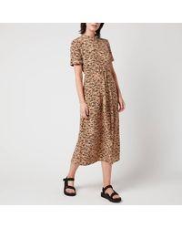 Whistles Bark Print Tie Front Shirt Dress - Brown
