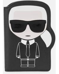 Karl Lagerfeld Women's K/ikonik Passport Holder - Black