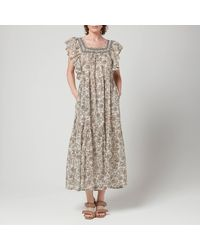 Free People Bonita Printed Midi Dress - Grey