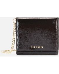 Ted Baker Adeley Crinkle Patent Mini Purse On A Chain - Black