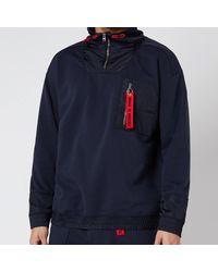 HUGO Damboo Half Zip Jacket - Blue