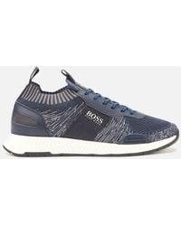 BOSS Titanium Runn Knitted Running Style Trainers - Blue