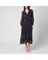 Whistles Satin Stripe Spot Wrap Dress - Blue
