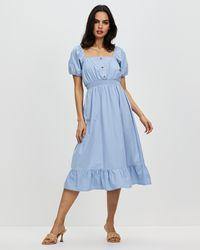 Cotton On Woven Everly Short Sleeve Midi Corset Dress - Blue