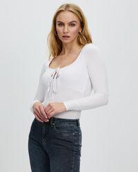 Glamorous Long Sleeve Tie Detail Bodysuit - White