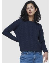 Superdry Dropped Shoulder Cable Crew - Blue