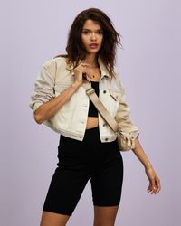 Missguided Neutral Patched Cropped Jacket - Natural