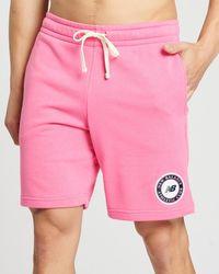 New Balance Essentials Athletic Club Fleece Shorts - Pink