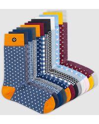 Sockdaily Side 12 Pack Crew Socks - Blue