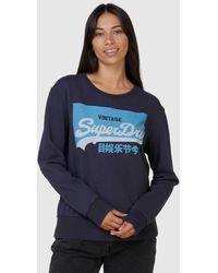 Superdry Vintage Logo Pastel Crew - Blue