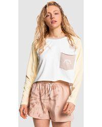 Quiksilver Iconic Horizon Cropped Long Sleeve T Shirt - White