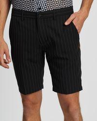 Justin Cassin Park Stripe Shorts - Black