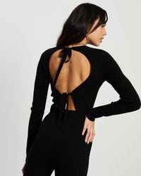4th & Reckless Leah Knit Tie Back Top - Black