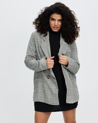 Missguided Petite Double Breasted Check Co Ord Blazer - Grey