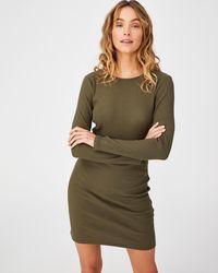 Cotton On Essential Long Sleeve Mini Dress - Green