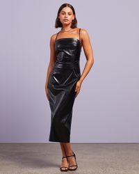 Dazie Dare To Be Different Pu Midi Dress - Black